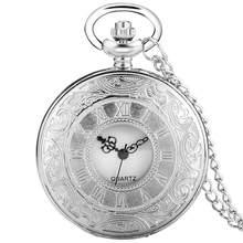 Basit gümüş romen rakamları cep saati erkekler kadınlar lüks içi boş durumda kuvars Steampunk Vintage kolye kolye hediye cep saati