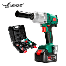 """LANNERET 18V Brushless Cordless Impact Electric Wrench  300 600N.m Torque Household Car/SUV Wheel 1/2"""" Socket Wrench Power Tool"""