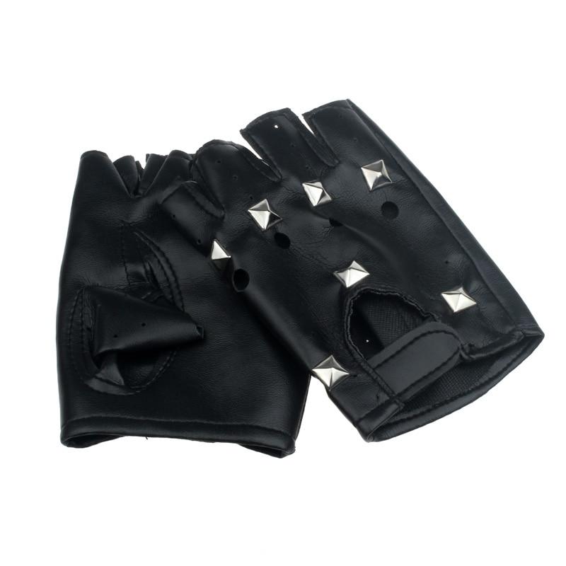 Hip-hop Women Men Gloves Theatrical Punk PU Leather Black Half-finger Gloves Square Nail Fingerless Mittens Unisex Gloves