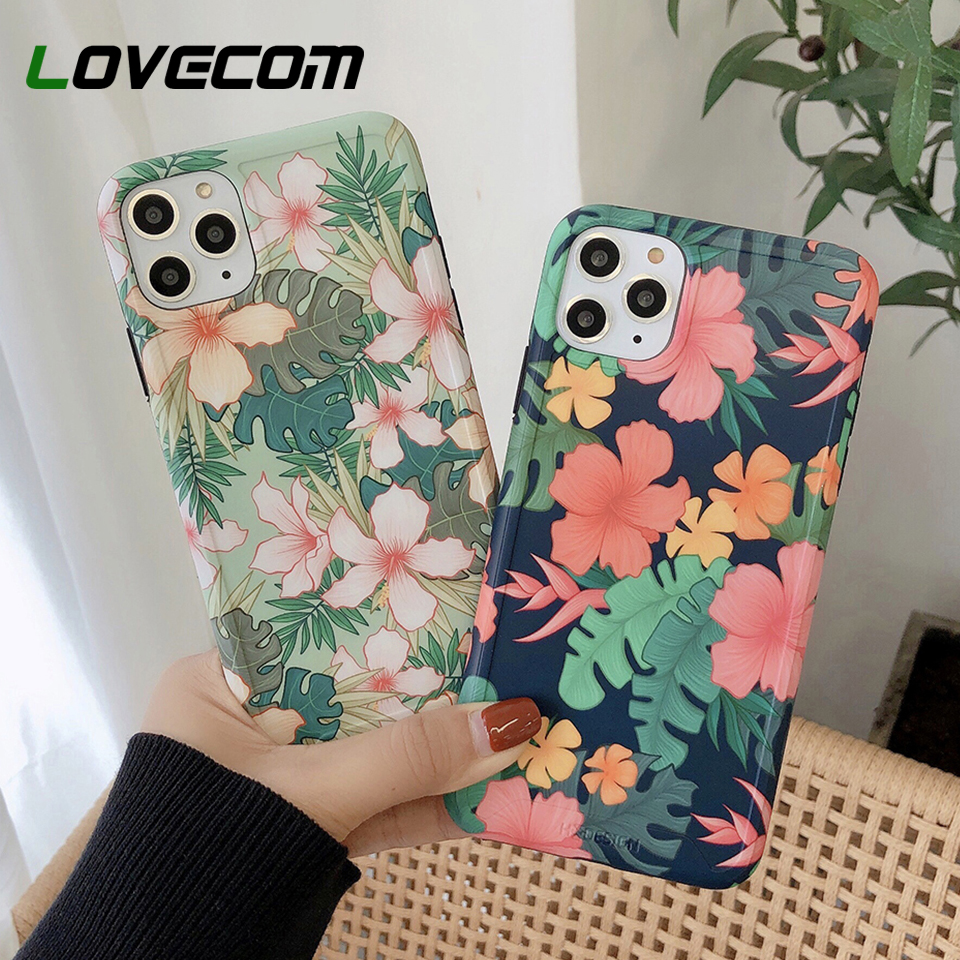 LOVECOM Vintage Pressed Flower Banana Leaf Phone Case For IPhone 11 Pro Max XR XS Max 7 8 Plus X Soft IMD Matte Back Cover Gift