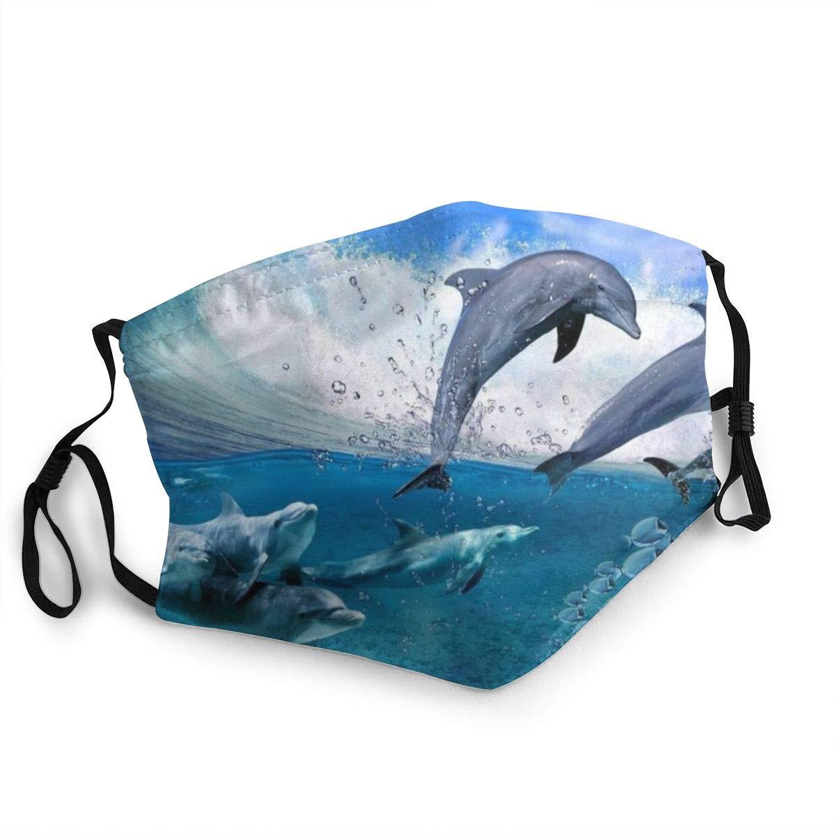 Masque facial de noël en forme de dauphin, saut dans les vagues fortes, confortable pour lextérieur, accessoires anti-poussière, réutilisable