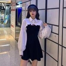 2020 Autumn New Korean Retro White Blouse And Spaghetti Strap Dress Women Sets Temperament Fashion Female Sets
