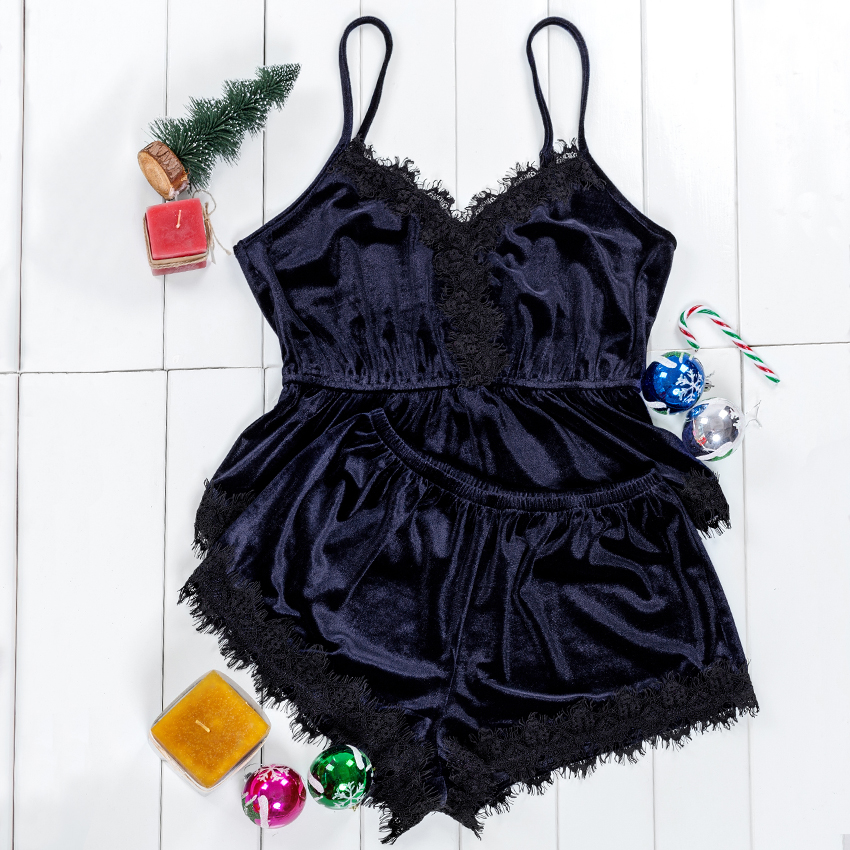 VICTORIA'S KEY Navy Blue Lace Velvet Cami PJ Set Sexy V Neck Sleeveless Sleepwear Solid Pijamas Women Short Sets Ladies Pajama