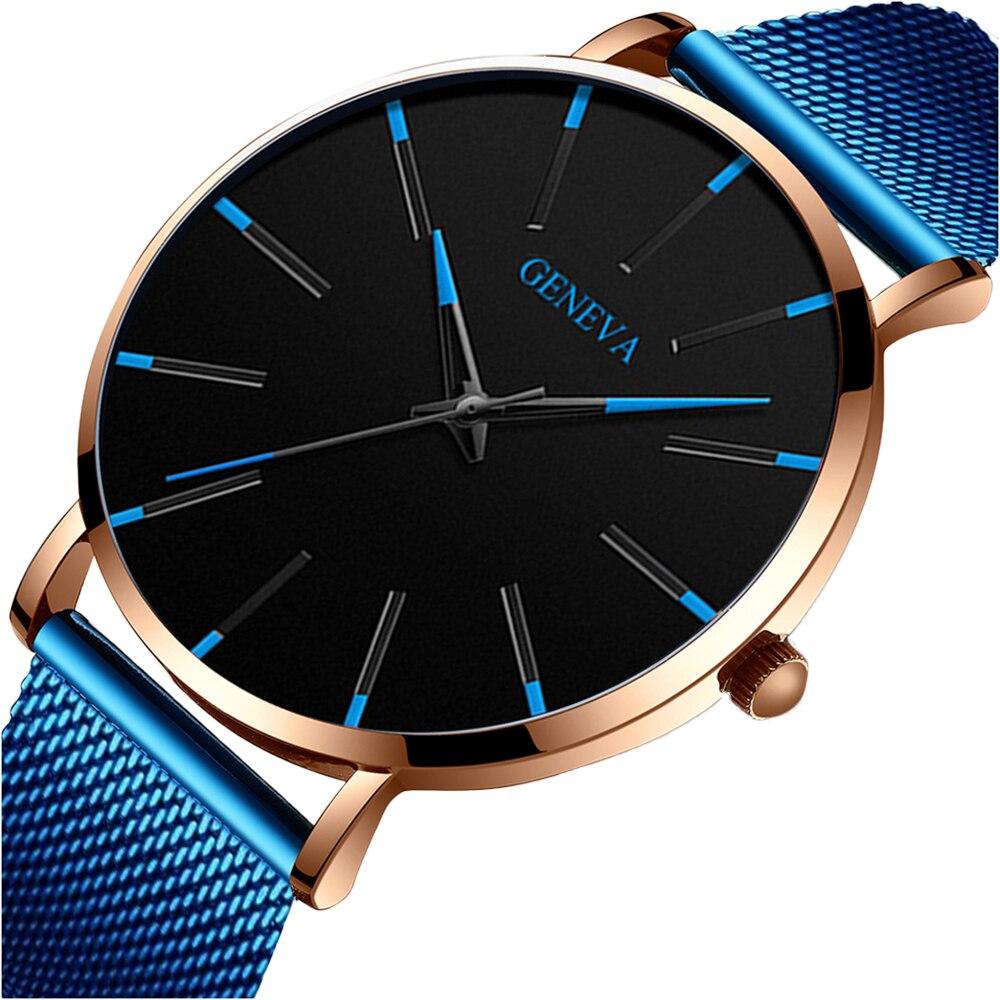 Uhren Herren Geneva Fashion Mens Watch Blue Mesh Belt Watches Classic Luxury Quartz Wrist Watch Sports Clock Relogio Masculino