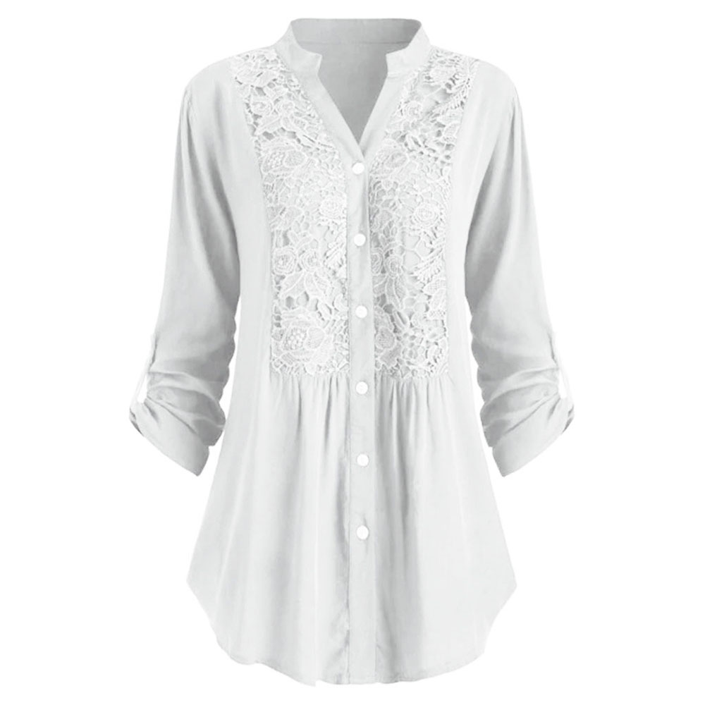 2020 New Fashion Blouse Women Spring Summer Female Blouses Button Lace V Neck Long Sleeve Shirts Plus Size 5XL Ladies Blusa Tops