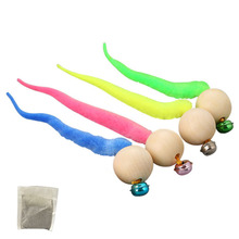 Cat Toy Squeak Pet-Toys Wooden Gatos Soft-Tail-Blue Katten Yellow Para Bell with Green-Color