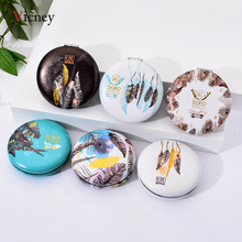 Vicney 2019 New Portable Double-Sided Pocket Makeup Mirror PU Leather Creative Multi-Color Leaves Fashion Mini