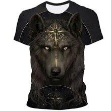 2021 Summer New Brand 3D Wolf Head T-shirt Men's Round Neck Short Sleeve T-shirt Men's Fashion T-shirt Short Sleeve