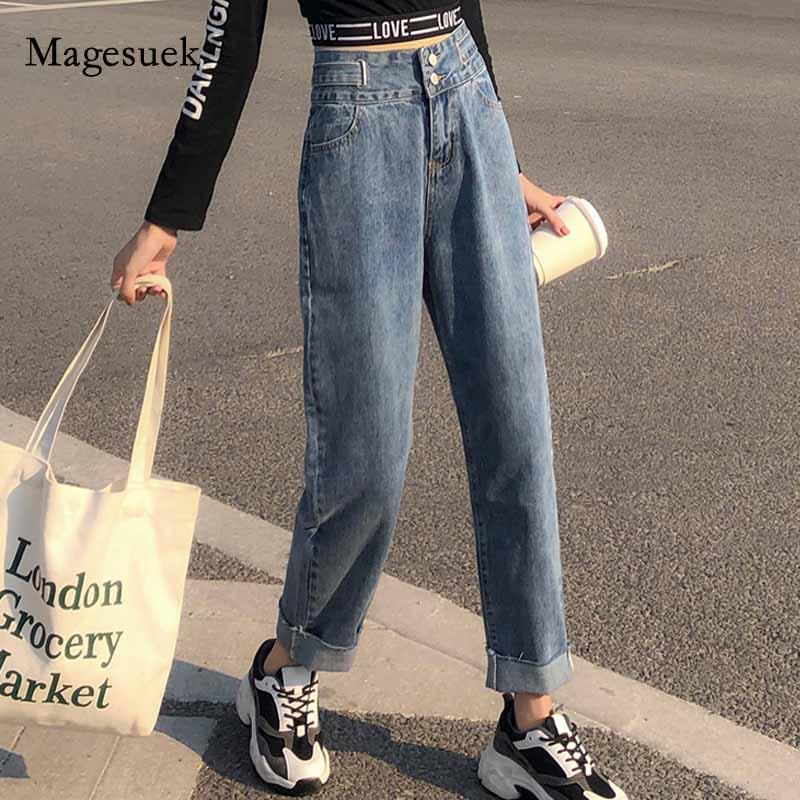 New Women High Waist Harlan Baggy Jeans Plus Size Jeans Dark Blue Straight Jeans Loose Capri Pants Women Mujer Pantalones 10793