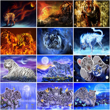 5D Diamond Painting Cross Stitch Tiger Full Round Drill DIY Mosaic Diamond Embroidery Rhinestones Home Decor nayachic full round drill 5d diy diamond painting animal tiger embroidery cross stitch 3d diamond pictures of mosaic decor