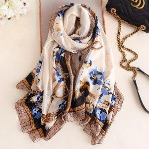 Роскошный китайский Шелковый женский шарф с принтом цепи, популярный хлопковый шарф для осени и зимы, женский модный шарф, Солнцезащитная ш...