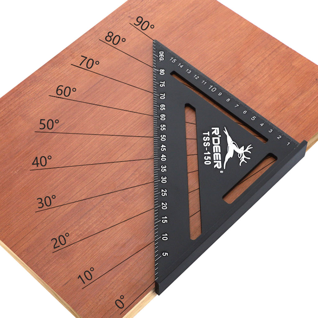 150mm Measuring Ruler Aluminium Roofing Tri-square Ruler Rafter Angle Frame Black For Carpenter Woodworking Measuring Tools title=