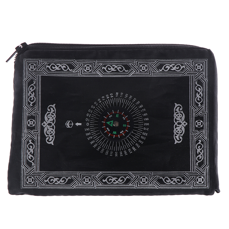 Image 3 - New Hot Muslim Prayer Rug Polyester Portable Braided Mats Simply  Print with Compass In Pouch Travel Home Mat Blanket 100*60cmRug   -