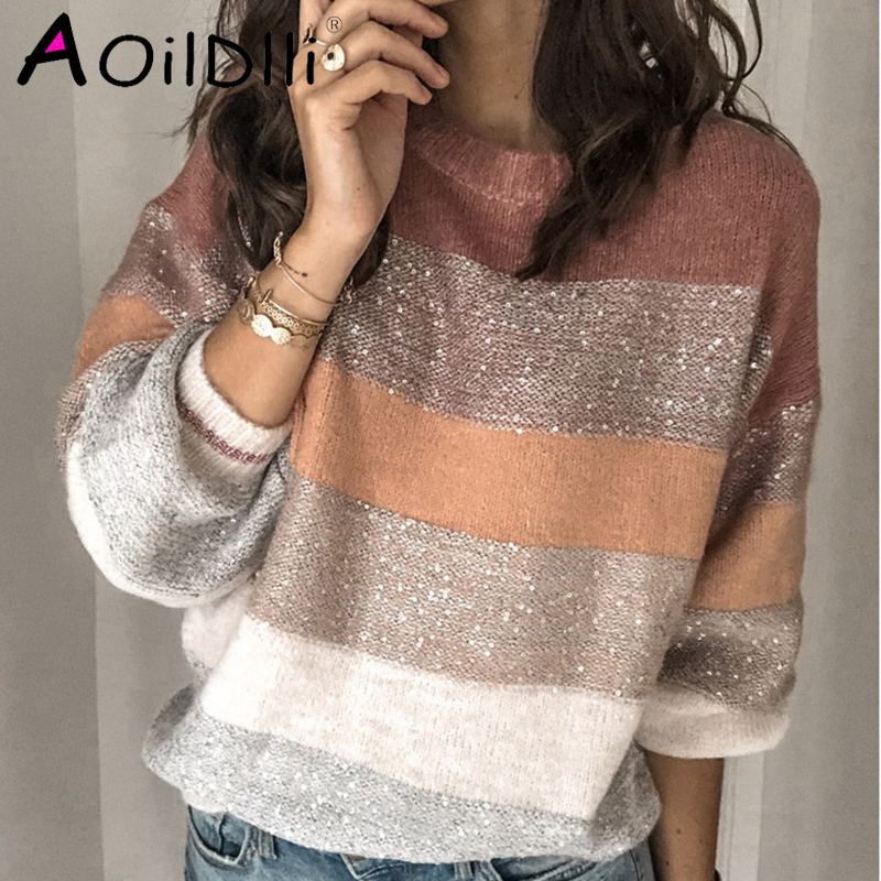 Loose Casual Knit Sweater Women Autumn 2019 Female Pullover Long Sleeve Striped Knitted Sweaters Femme Elegant Clothes