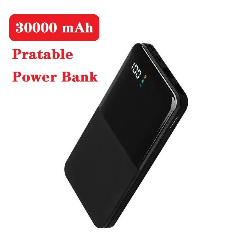 30000mah Power Bank Portable Charging PowerBank 30000 MAh USB PoverBank External Battery Charger For Xiaomi Mi 9 8 IPhone 7