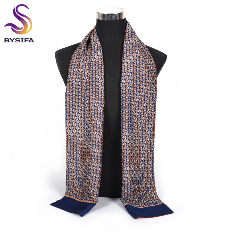 [BYSIFA] Winter Business Men Scarves New Brand Male Long Silk Scarf Cravat Double Faces Coffee Paisley Men Neck Scarf 170*30cm