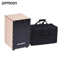ammoon Wooden Cajon Box Drum Hand Drum Percussion Instrument Birch Wood with Adjustable Strings Carrying Bag for Adults