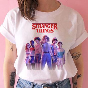Obcy rzeczy sezon 3 T koszula kobiety do góry nogami Tshirt jedenaście kobiet graficzny grunge koszulka femme tee shirty męskie śmieszne koszulki z krótkim rękawem odzież tanie i dobre opinie Poliester Modalne NONE Drukuj REGULAR Suknem O-neck Na co dzień eleven stranger things Stranger Things season 3 Stranger Things t shirt