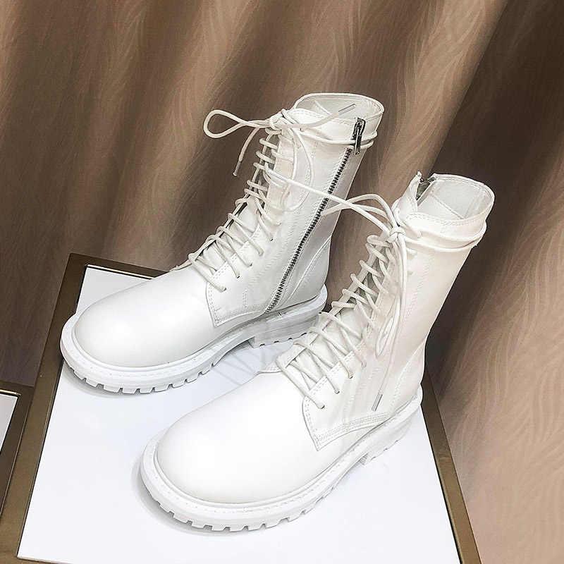 Botas mujer 2019 zapatos blancos informales botas Martin de plataforma para mujer marca de moda para damas botas de tobillo blanco para niñas atado