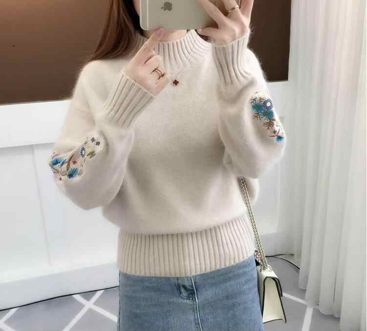 Women Floral Sleeve Embroidery Turtleneck Pullover Sweater Lady Korean Style Knit Pullovers Jumper Autumn Winter Tops Q9102