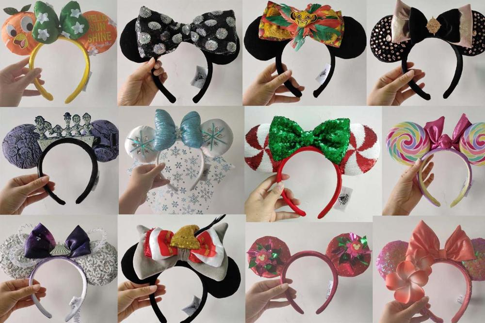 Authentic Minnie Mickey Mouse Sequin EARS COSTUME Headband Cosplay Plush Adult/Kids Headband Gift