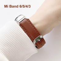 Reloj de cuero marrón banda para Xiaomi Mi banda 6 4 5 correa para xiaomi mi banda 5-4-3-6 de la pulsera de la correa de correa pulsera de