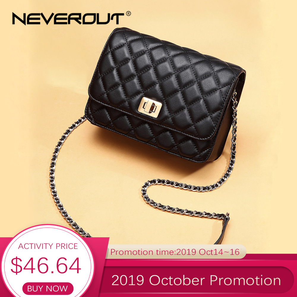 NEVEROUT Ladies Sheepskin Flap Bag Diamond Lattice Real Leather Crossbody Bag Luxury Handbags Women Bags Quilted Shoulder Sac