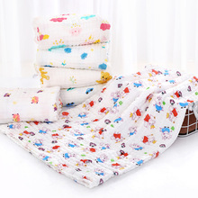 Pure Cotton Class A Six-layer Gauze Baby Bath Towel Baby Non-fluorescent Soft Cartoon Printing Child Blanket
