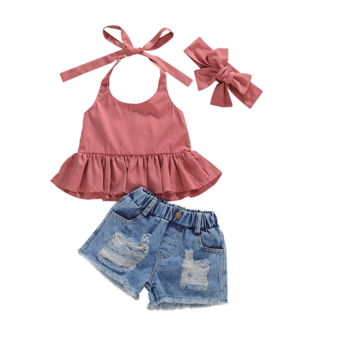 Toddler Baby Girl Halter Crop Top+Ribbed Denim Shorts 2pcs Summer Outfits Clothes Set