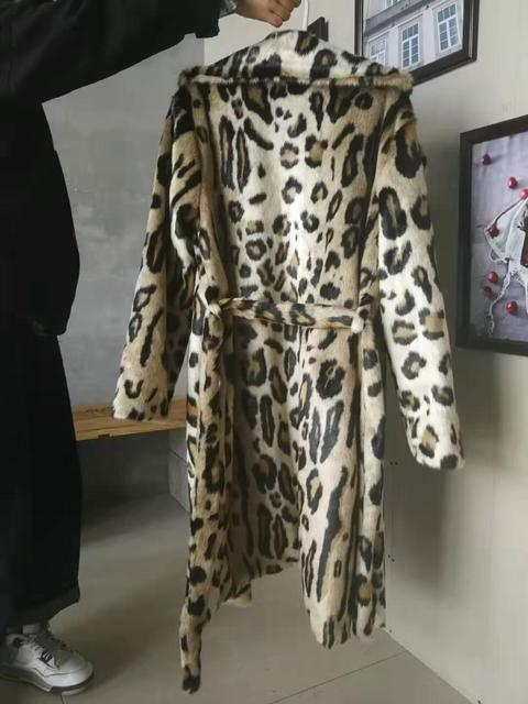 2019 Leopard Print Faux Fur Coat Long Sleeve With Belt Turn Down Collar Fur Jacket Winter Coat Women Teddy Coat Fourrure Femme