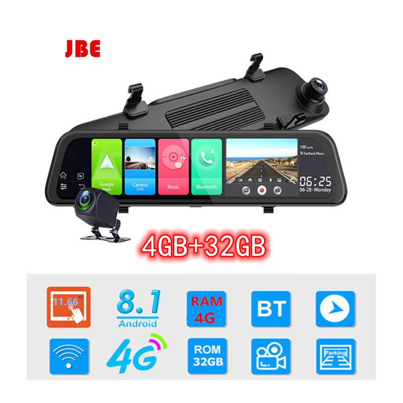 4G+32G Android 8.1 12 Inch 4G Car Rearview Mirror Stream Media GPS Navi Dash Cam Dual 1080P Camera Car Dvr ADAS Super Night