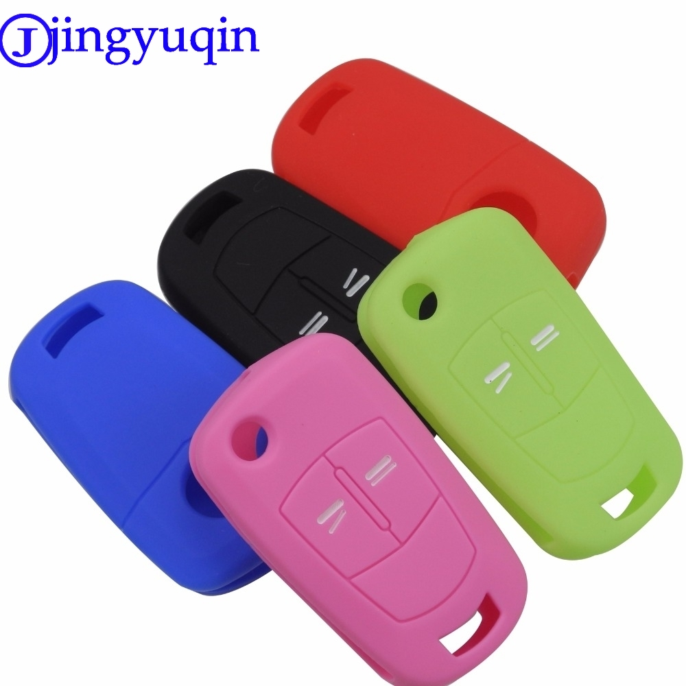 Jingyuqin Silicone Folding Flid Car Key Cover Case Fob For Vauxhall Opel Corsa Astra Vectra Signum 2 Button Silicone Remote