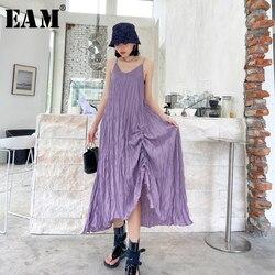 Женское длинное платье EAM, фиолетовое плиссированное платье на тонких бретельках с треугольным вырезом, без рукавов, 2019