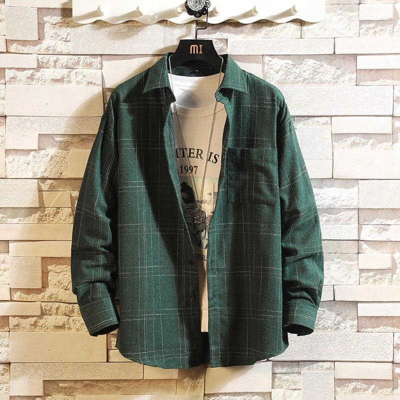 Мужская Повседневная рубашка в клетку с длинным рукавом, свободная уличная одежда большого размера в японском стиле на весну и осень, M-5XL 2019