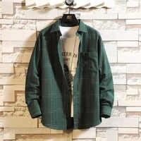 Casual di Autunno della Molla Camicia di Plaid Degli Uomini Manica Lunga di Alta Qualità 2019 Del Giappone di Stile Allentato Streetwear Plus Size M-5XL Vestiti