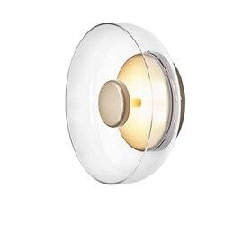 Nordic okrągłe przezroczyste szkło kinkiet nowoczesny led kreatywny design ściana światło dla sypialni schody alejek