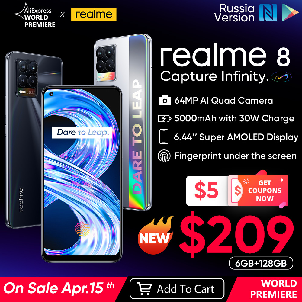 "[World Premiere on April 15] realme 8 Smartphone 64MP Quad Camera Helio G95 6.44"" AMOLED Display 5000mAh Battery 30W Charge"
