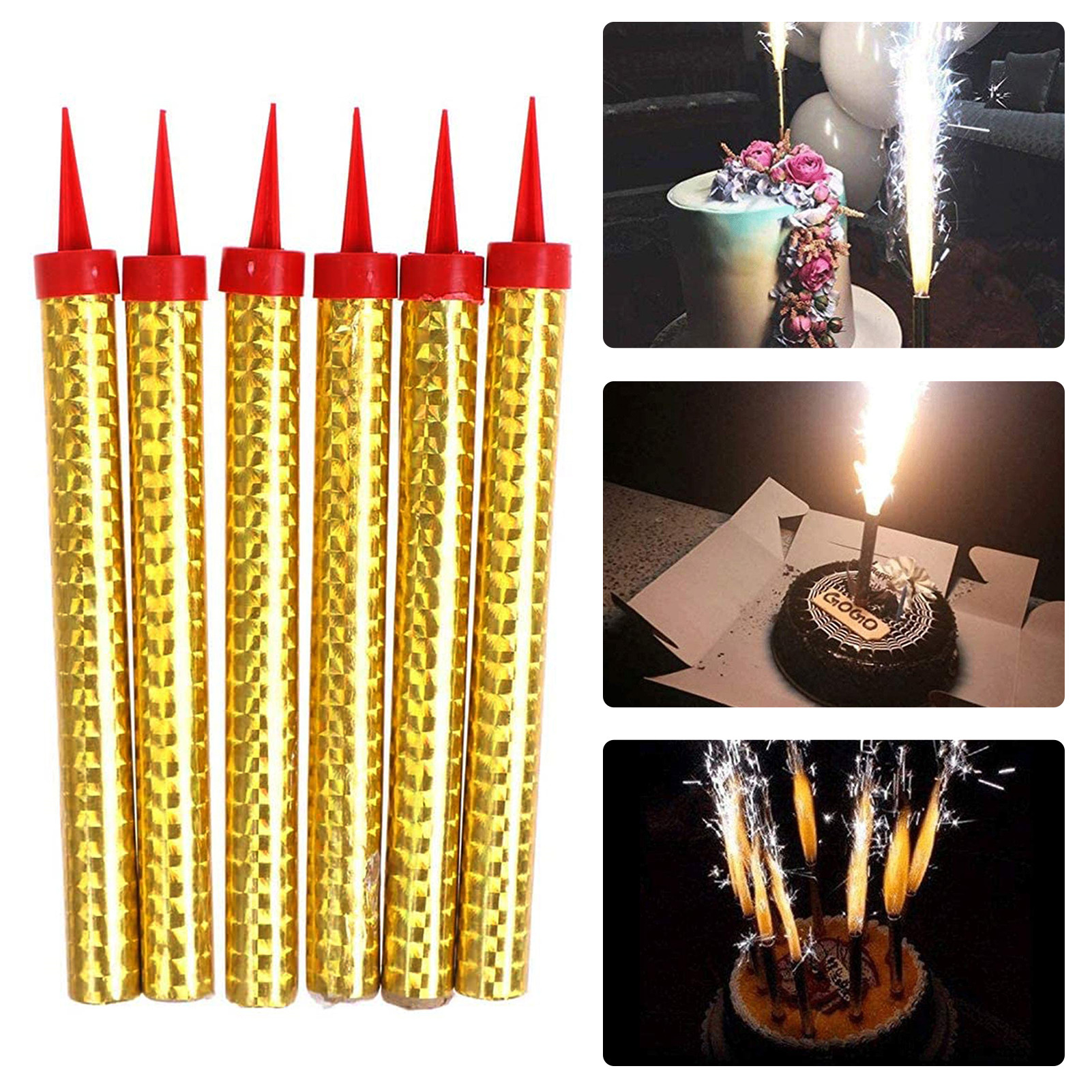 6 Pcs Birthday Candle Cake Decoration Wedding Party Nightclub Party Candle Accessories Fire-works Candles On The Cake Free Ship