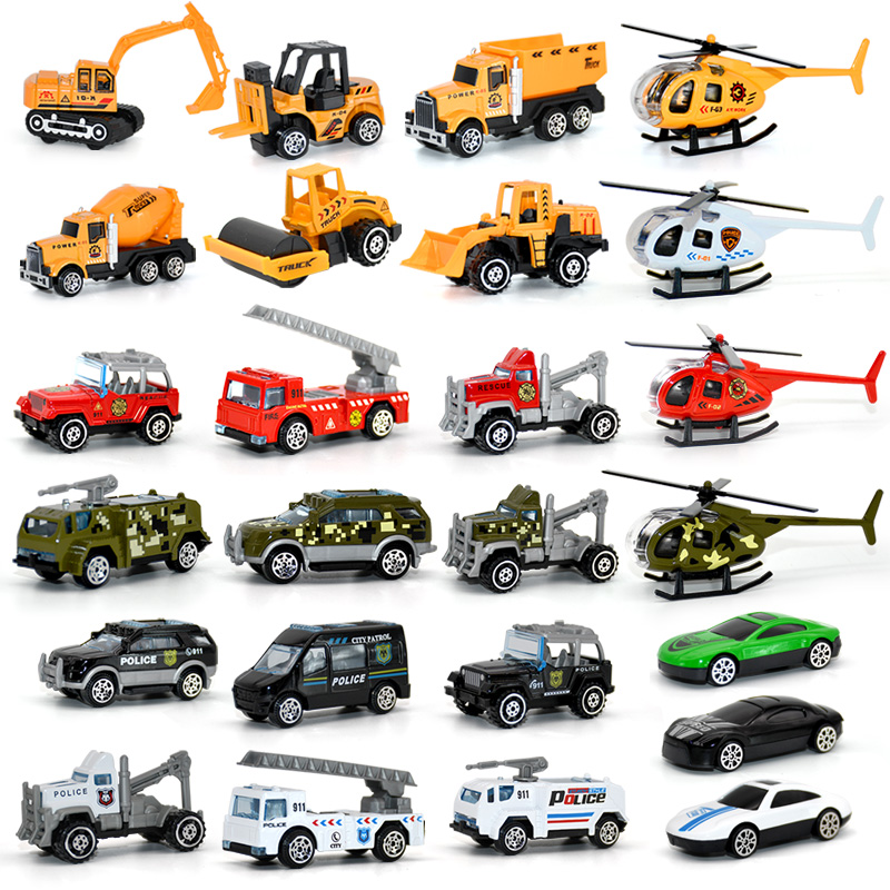 6 Styles Simulation Alloy Car 4 Styles Helicopter Kids Toys Mini Engineering Car Tractor Toy Dump Truck Model Classic Toy Gifts