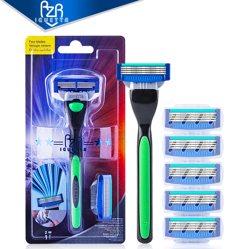 RZRIGUETTA Shaving Razor Blade For Men Set 1 Holder & 2 Blades 4 Layers Stainless Steel Manual Shave Razors Navalha De Barbear