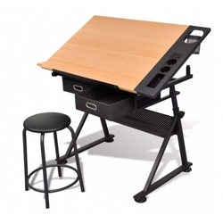 اثنين من الأدراج طاولة رسم منضدة قابلة للطي مع البراز
