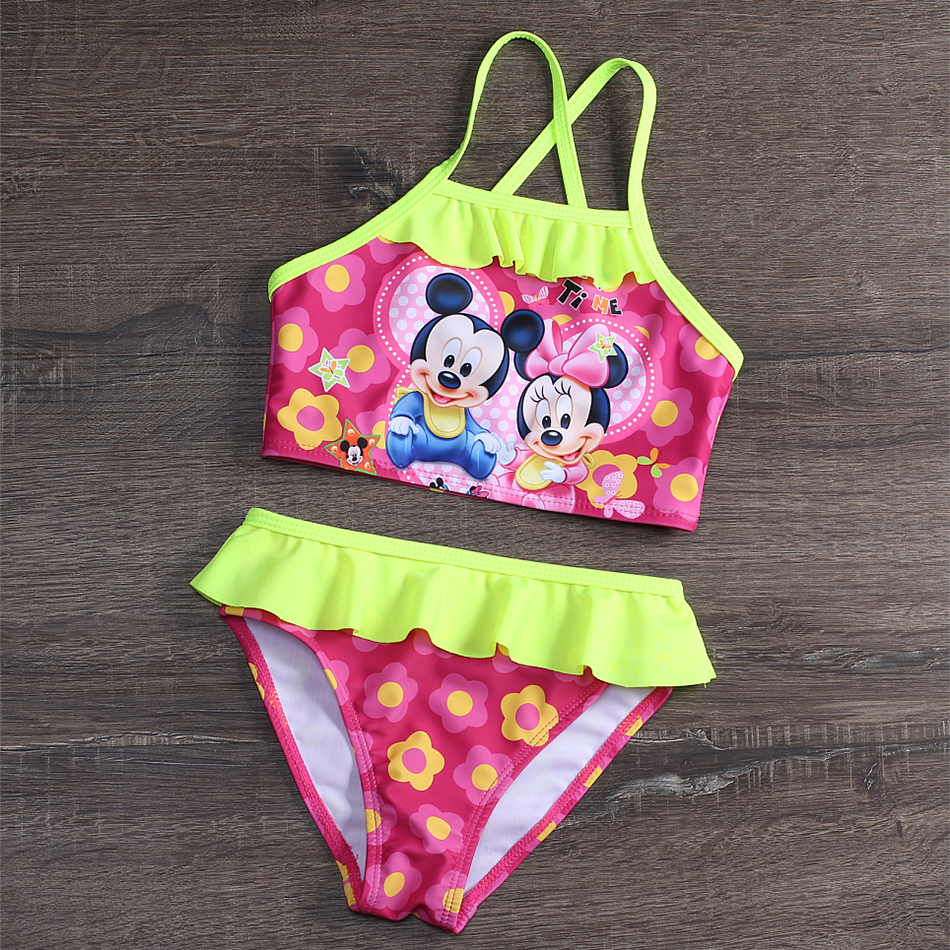 New 2020 Girls Swimsuit Two Piece Children's Swimwear 2-9 Years Toddle Swimwear Bathing Suit Ruffle Style 9038