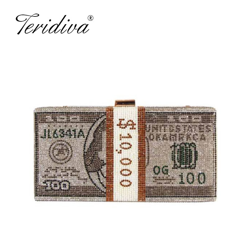 100 Dollar Bill Clutch Money USD Bags Design Diamond Evening Bags Party Purse Clutch Bags Wedding Dinner Purses and Handbag