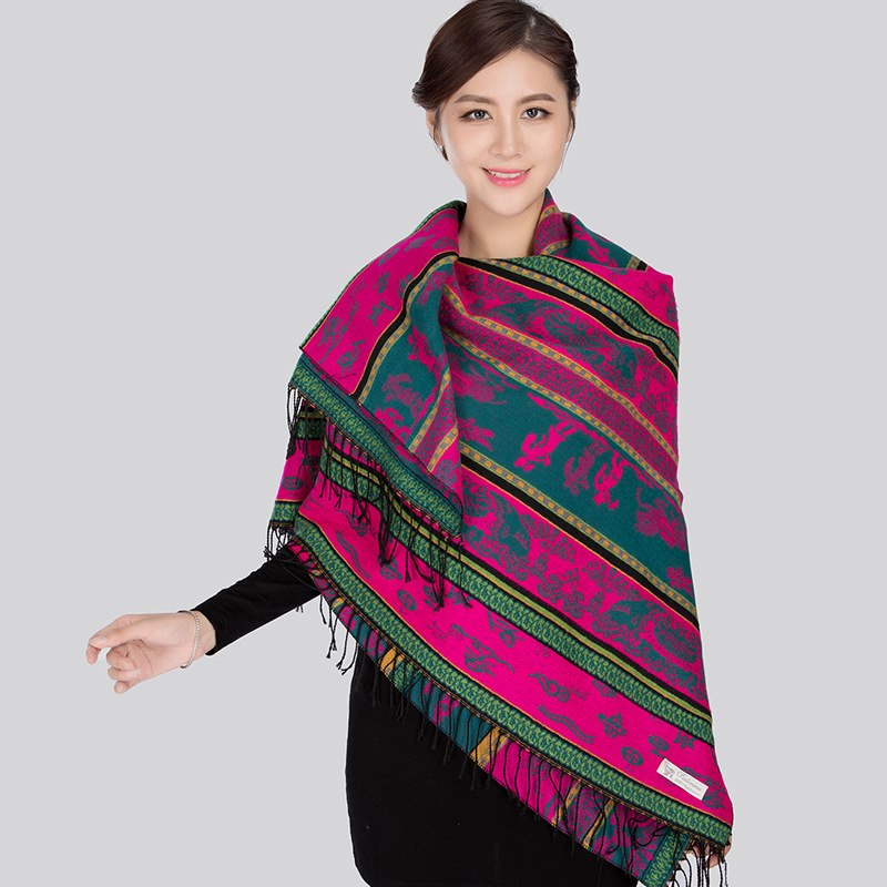 Ethnic Style Scarf Women Thicken Warm Autumn And Winter Travel Big Square Scarf  With Cloak Warm Shawl Dual-use