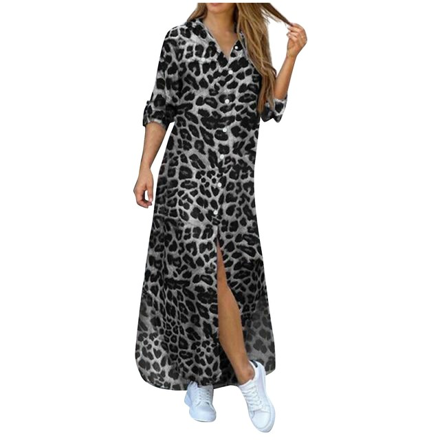 Fashion Korean Plus Size Denim Dress For Women Summer Dress 2021 Lapel Split Sexy Long Maxi Jeans Dress Vestidos De Mujer #SRN 4