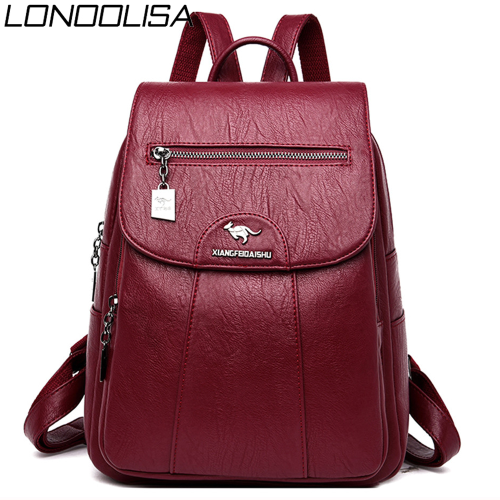 Soft Leather Travel Backpack Female Shoulder Bags Sac A Dos Femme Casual Ladies Bagpack Mochilas School Bags For Teenage Girls