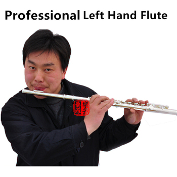 Professional Left Hand Flute 16 Holes C Tone Silver Plated Cupronickel Material with E Key Flauta Musical Instrument with Case hot selling japan flute yfl 471 16 holes silver plated transverse flauta obturator c key with e key music instrument dizi