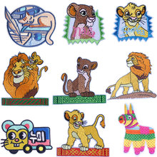 купить DIY Hook Loop Patch Sew/Iron On Patches On Clothes Stripe Cartoon/Animal Patch Lion King Embroidered Patches For Clothing дешево