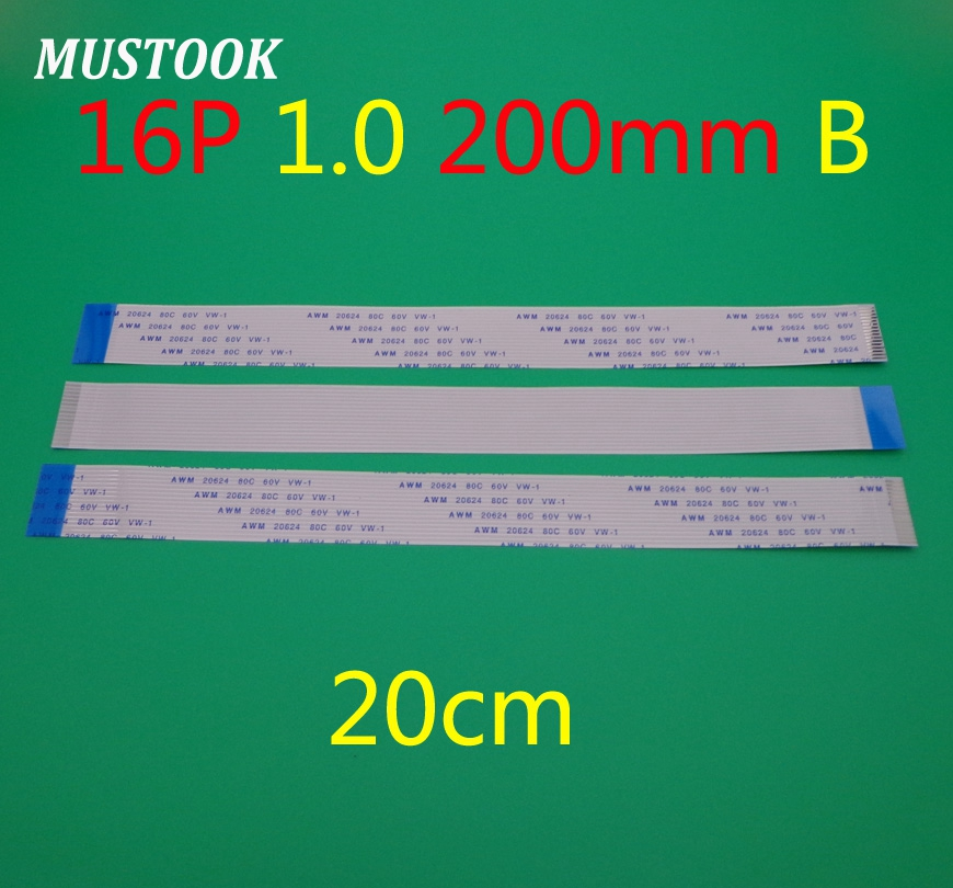 30X New FFC FPC Flat Flexible Cable 1mm Pitch 16 Pin 16pin Reverse Length 200mm Width 17mm Ribbon Flex Cable