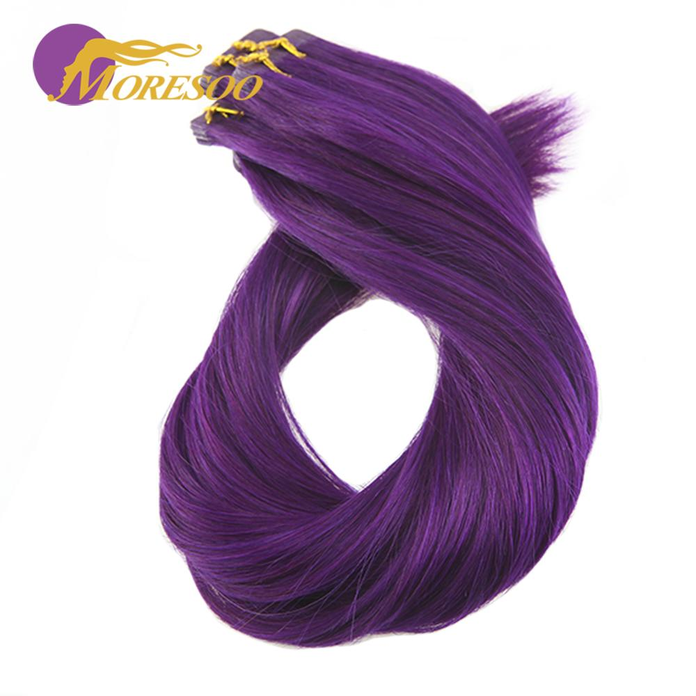 Moresoo Human Hair Tape In Extensions Colorful Machine Remy Seamless Skin Weft 10Pcs/25G Silky Straight Glue On Hair